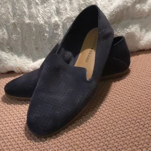 Navy blue suede slip-on shoes